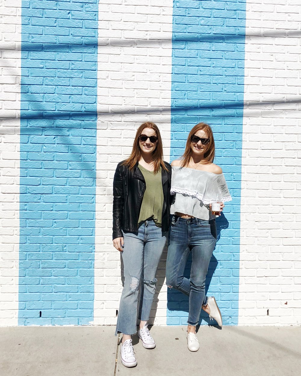 Blue and White brick wall in Nashville