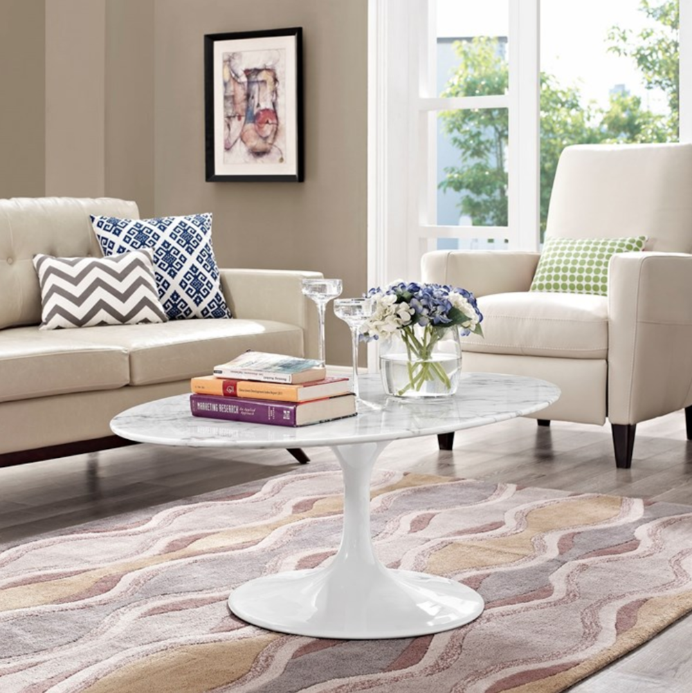 Marble and white table in living room
