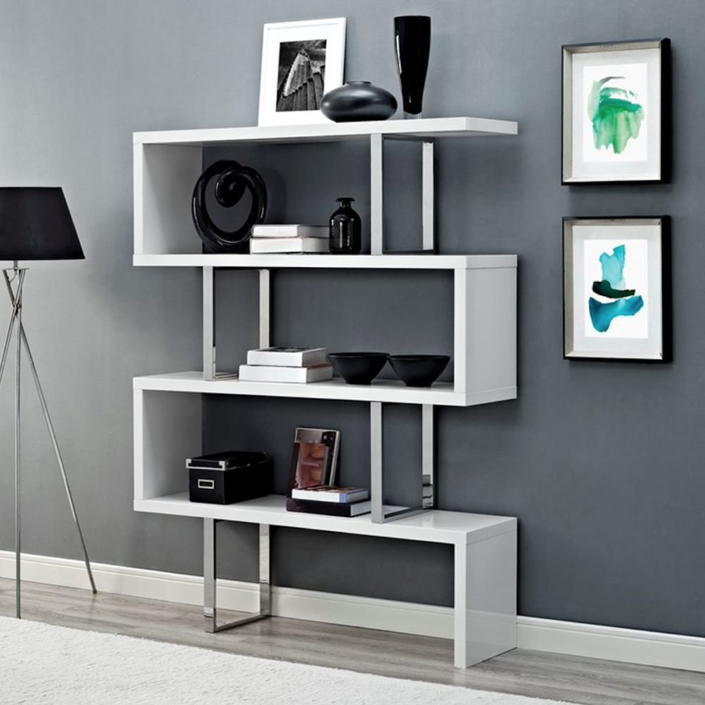 White geometric shelving unit Lexmod
