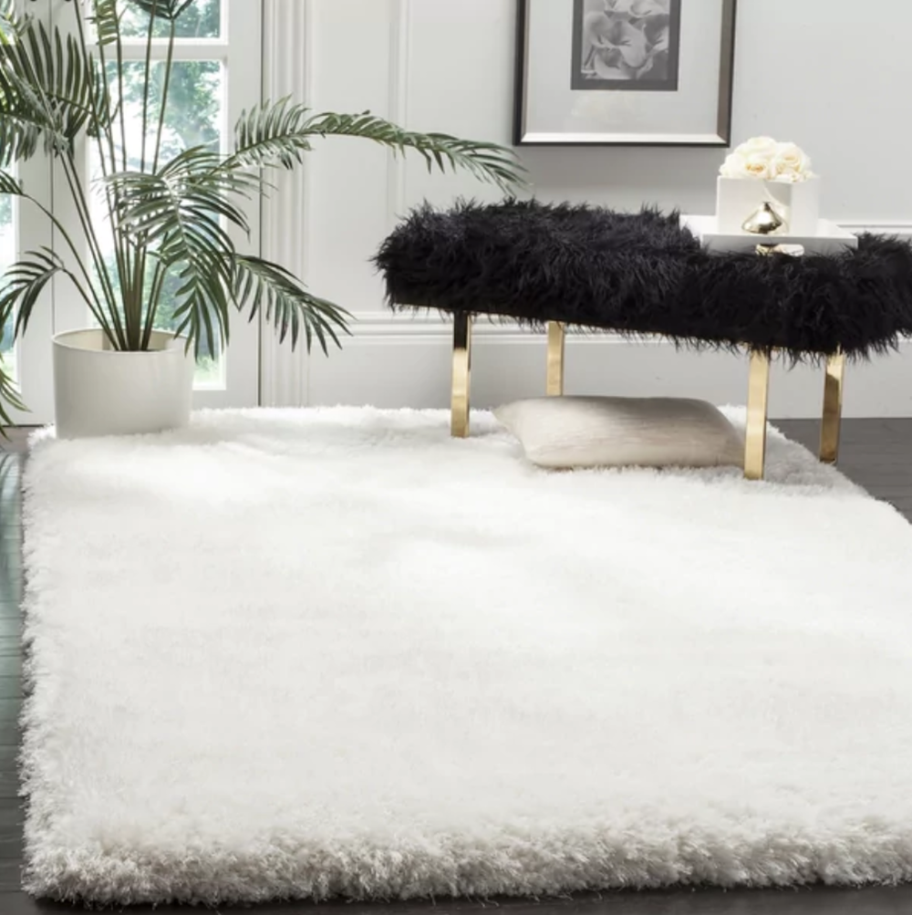 White plush area rug from Lexmod