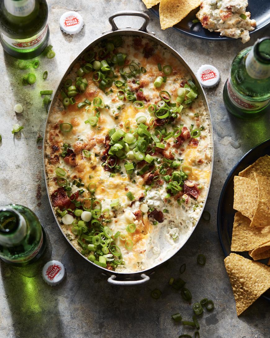 Stella Artois and Jalapeno popper dip in big dish