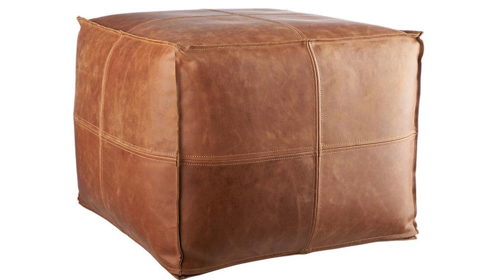 """leather pouf"" - Hand-stitched leather pouf ottoman, $199; CB2"