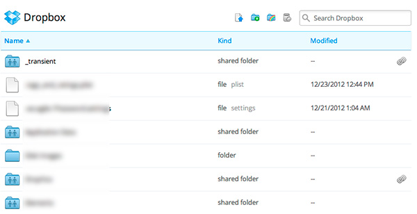 Dropbox shows a link icon next to files or folders you've shared links to