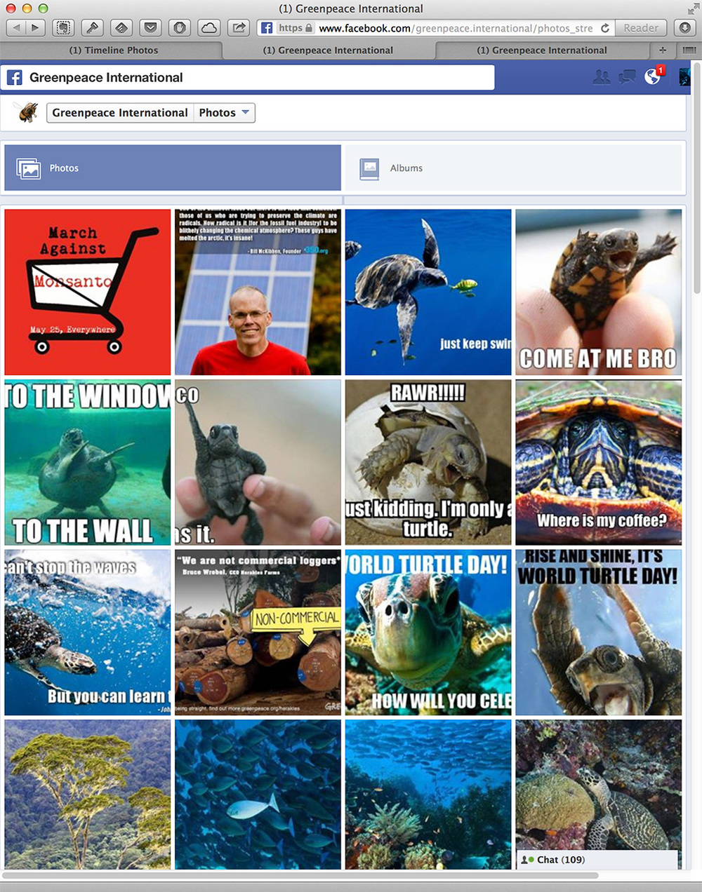 Greenpeace's Facebook Timeline photos