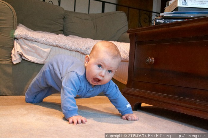 Jacob can't crawl yet, but he can do a cute little wormy thing across the floor.