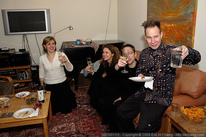 Soprano Dawn Upshaw, composer Osvaldo Golijov, and master stager Peter Sellars toast in celebration of the opening of Kafka Fragments at Carnegie