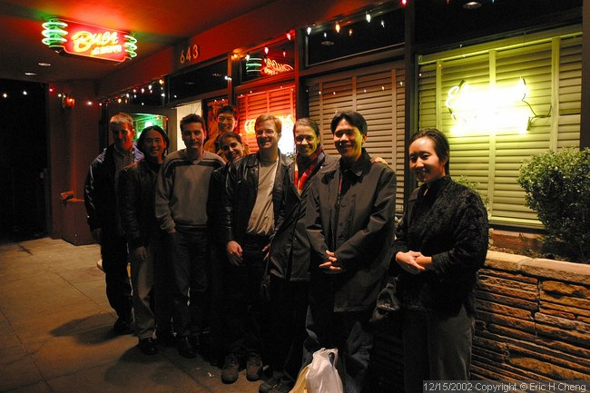 The entire surprise b-day crew, outside Buca di Beppo