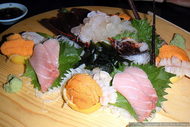 Sushi Ota, Course #2: Fresh, raw lobster, urchin, toro, geoduck, shiso leaf, and seaweed.