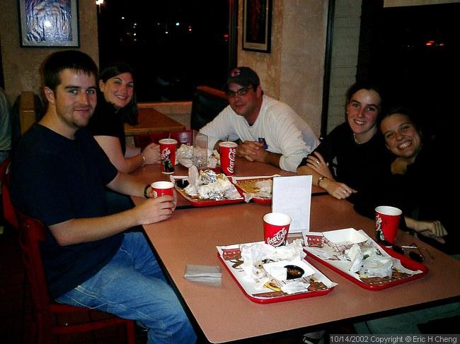 At Burrito Real: Elliot, Jamie, Chris, Monica, Mandy