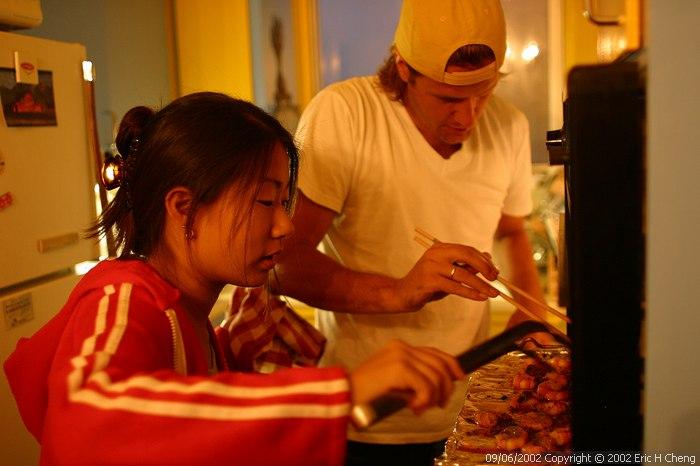 Geoff, Livia, and shrimp