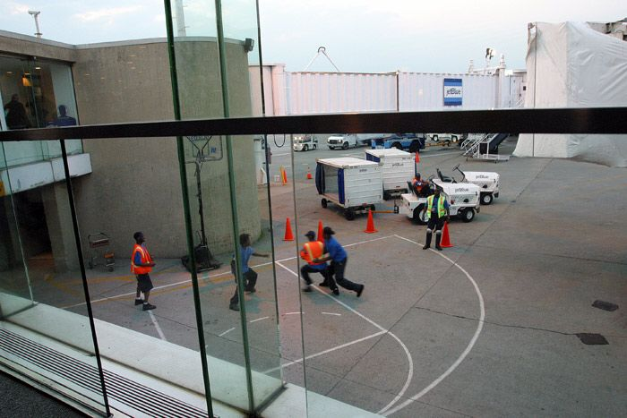 Employees playing basketball at JFK