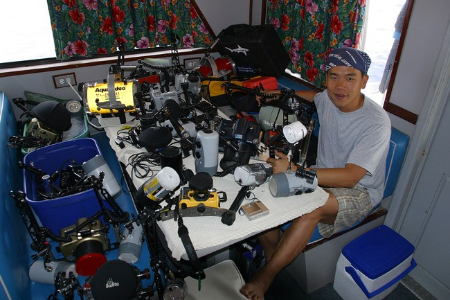 Eric Cheng, at camera table (photo: Jim Watt)