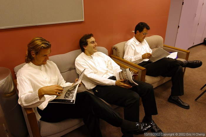 Geoff, Alberto, and Stephen, in the men's dressing room