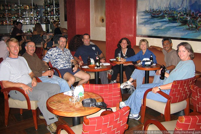 Hanging out at the Grand Hotel in Guayaquil: L->R Mike, John, Ken, Brian, Kristin, Nancy, Nick, and Annie