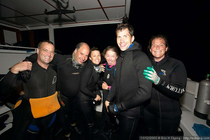 Brian, Jacob, Katrina, Annie, Sean, and Kristin, after a night dive, where they saw a red-lipped batfish (Isabela)