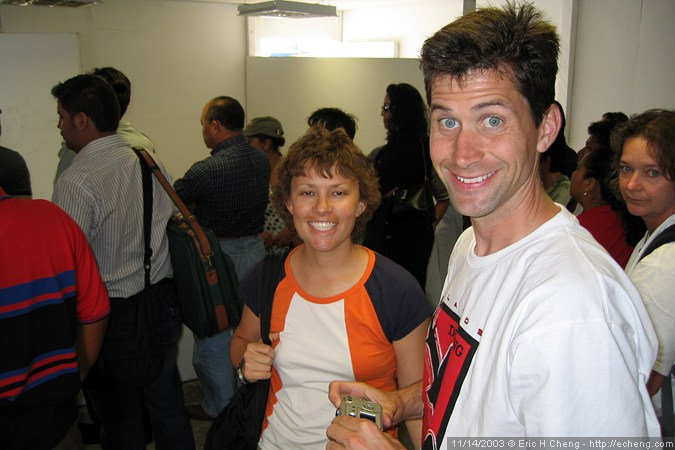 Katrina and Sean, at the baggage claim in Guayaquil