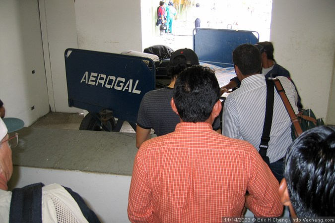 "Baggage claim, or ""the clusterf---"" at Guayaquil airport"