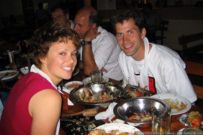 Katrina and Sean, eating crab goo (Guayaquil)