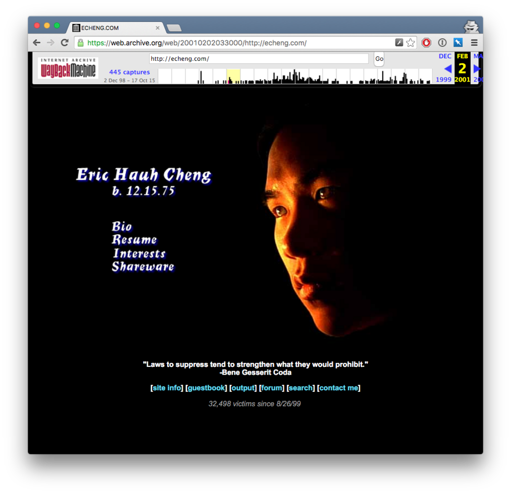 An archive.org snapshot of my original site, which went up in ~1998.