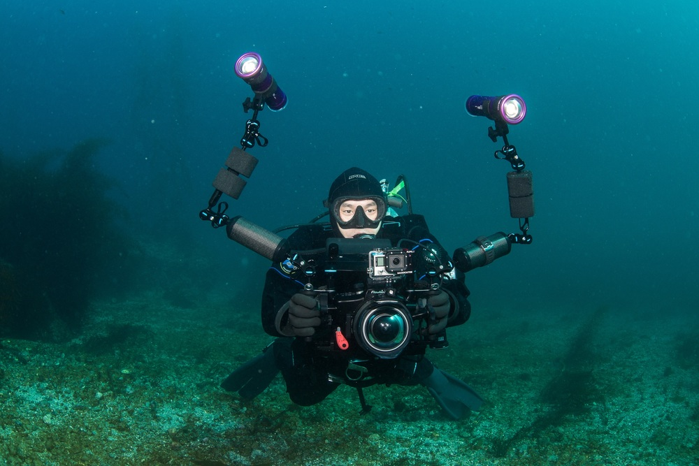 Me, in the Channel Islands off of California, diving with a Sony a7r and Atomos Shogun in Nauticam housings, and Keldan lights. Photo: Jennifer Penner - Newmediasoup, LLC