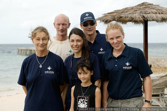 The staff: Doris, John, Stella, Lorenz, Gillian, and little Inka