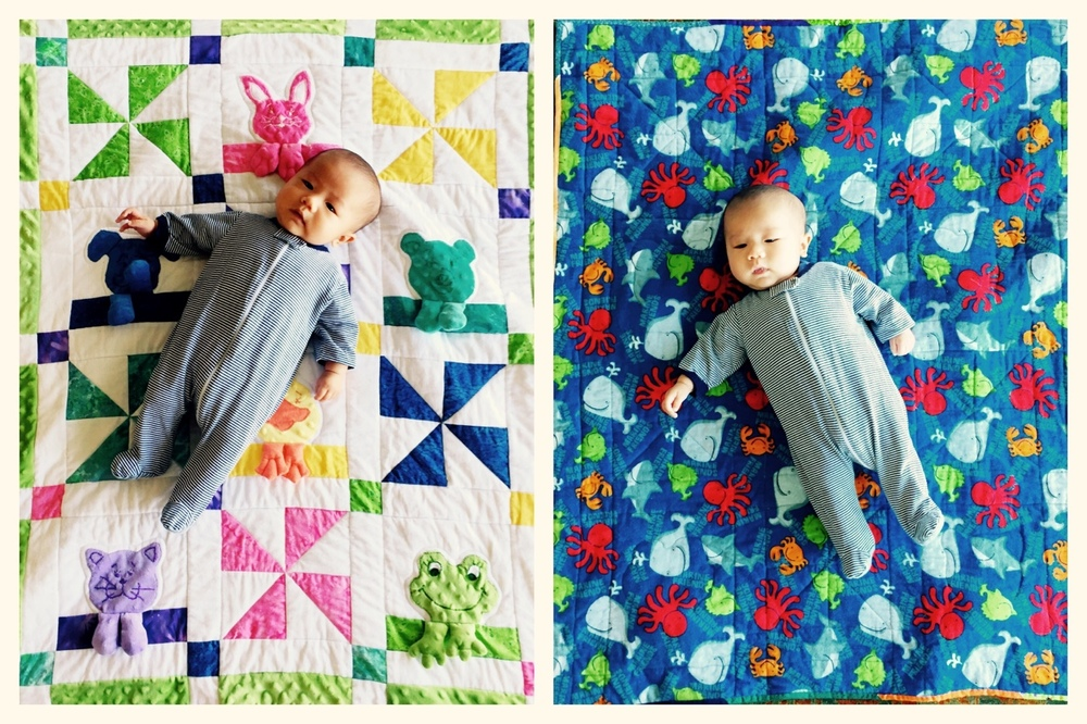 Nana Marstall, Heidi's mother, made and sent us this amazing quilt with sea creatures on one side, to make me happy, and animals on the other side to make Mako and Pam happy. Thank you!! All of these amazing, heartfelt gifts are so incredible; we are grateful for the support and celebration of Mako's life, and also feel like bad people because we haven't historically given our friends baby gifts…