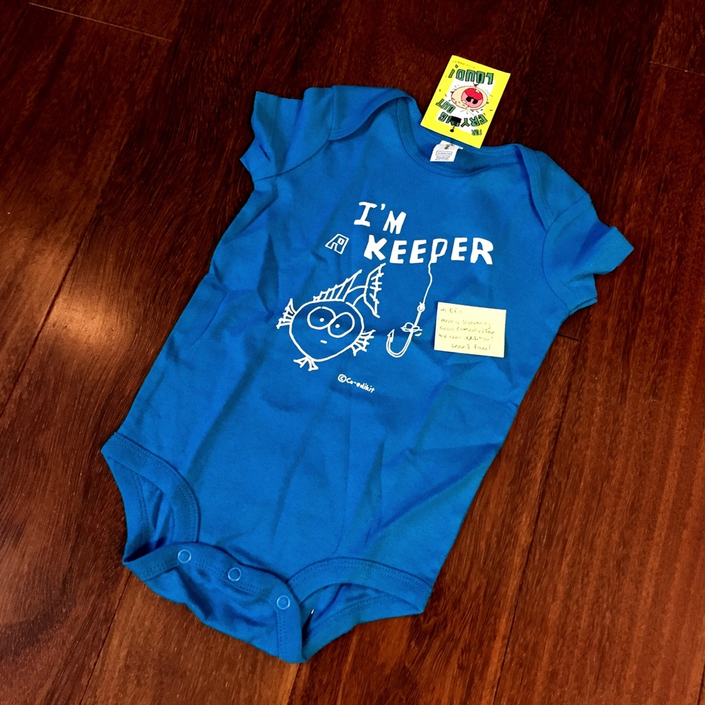 My friends Paul and Lena were visiting San Francisco from Singapore a couple weeks ago. I missed them, but there were nice enough to mail us this cute baby onesie. Thank you!