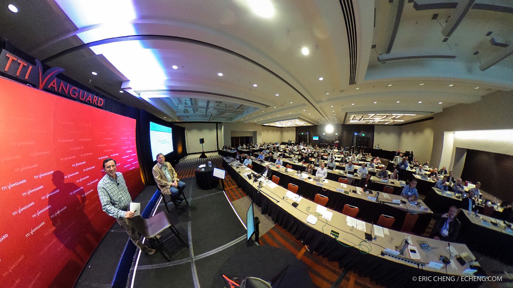 360 image of John Markoff and Michael Hawley on stage