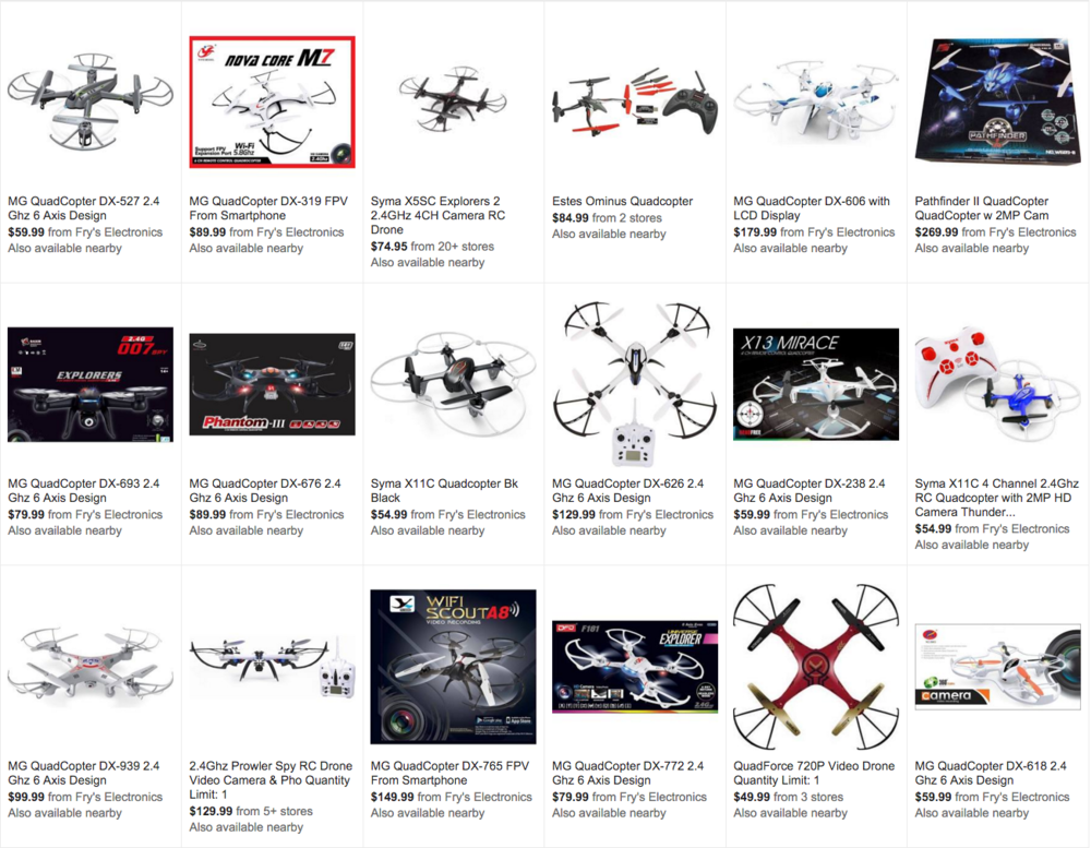 The number of anonymous toy quadcopters being sold is staggering