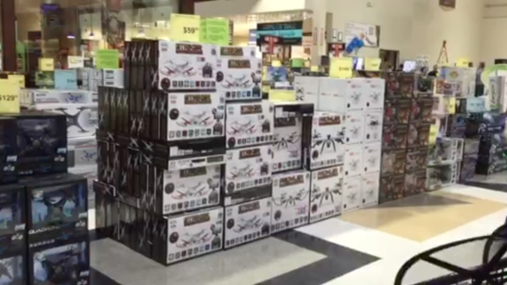 An incredible number of crappy drones at Fry's Electronics (credit: Becky Worley)