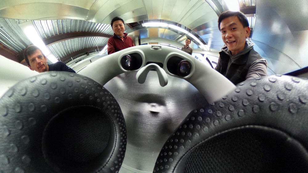 Super wide-angle view from the middle of a pre-production Avegant Glyph