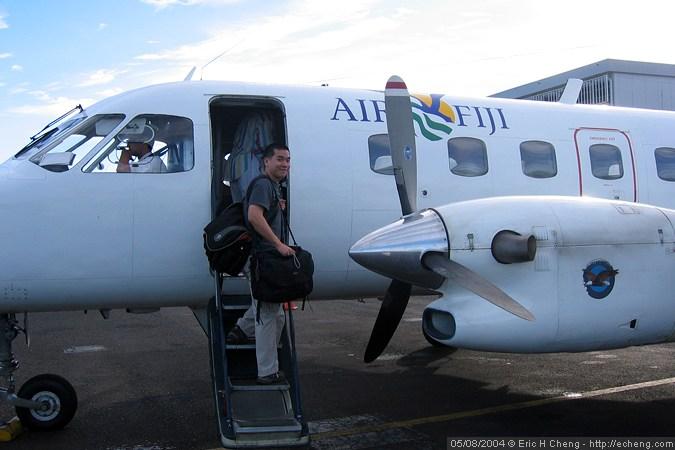 Me, boarding the plane (photo: James Wiseman)