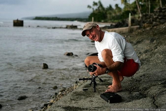 Photographer Jim Watt sets up for a sunset shot