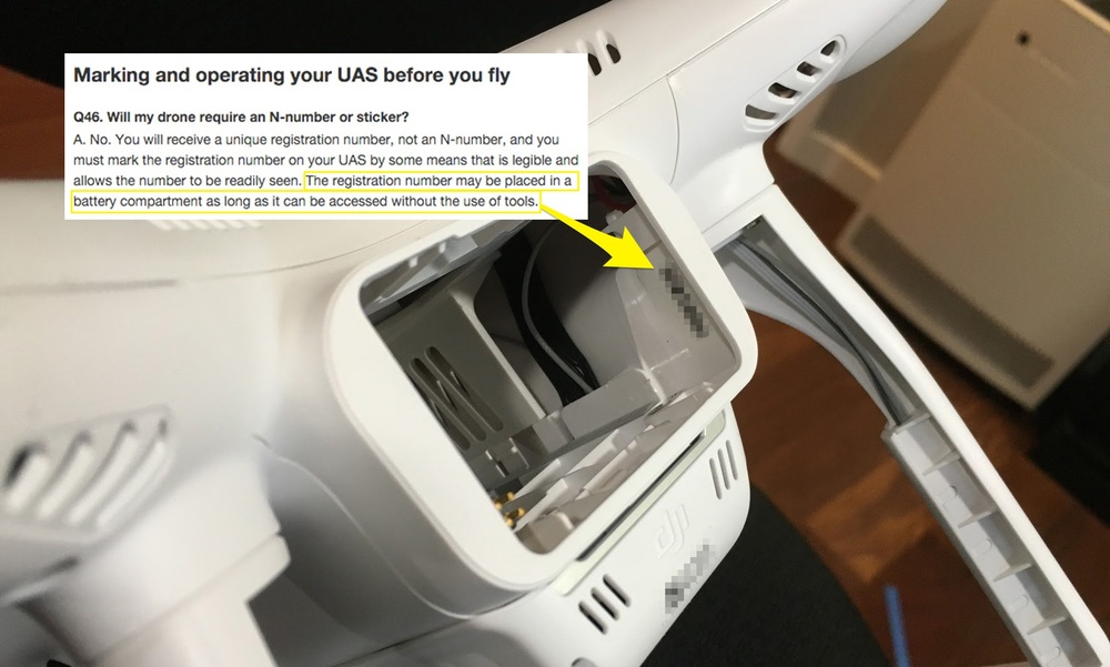 An FAA UAS registration label in a Phantom 3 battery compartment
