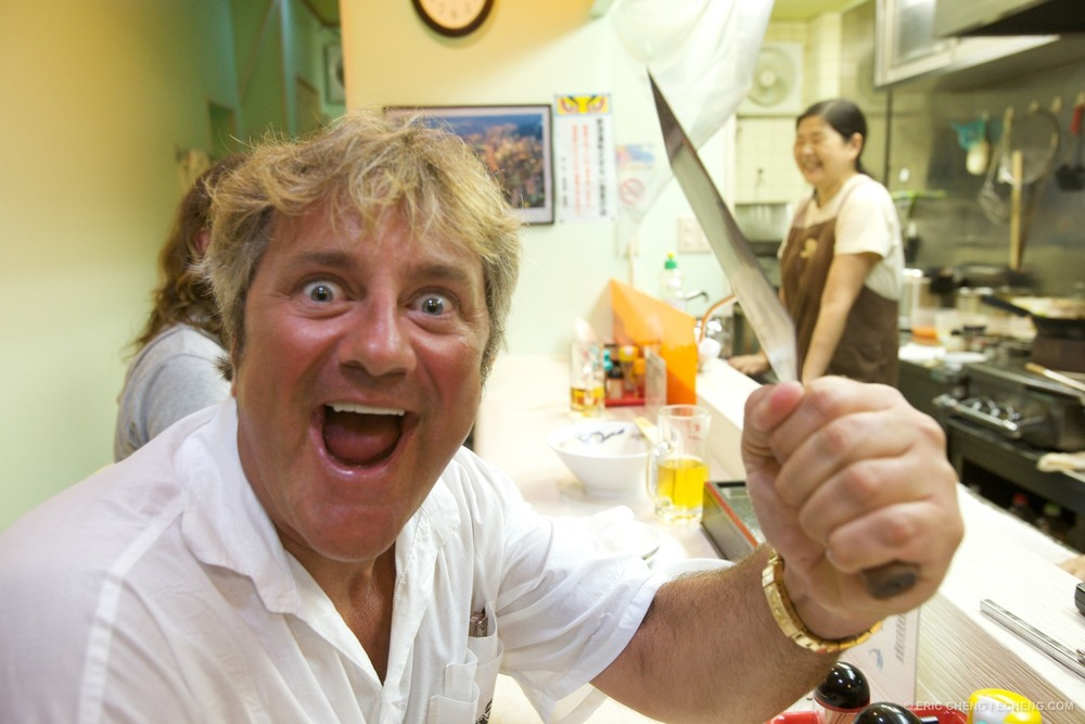 Douglas goes berzerk at the ramen house. Ogasawara Islands, Japan.