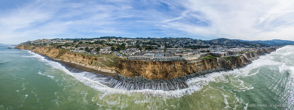 Aerial panorama of Pacifica, California, on January 26, 2016