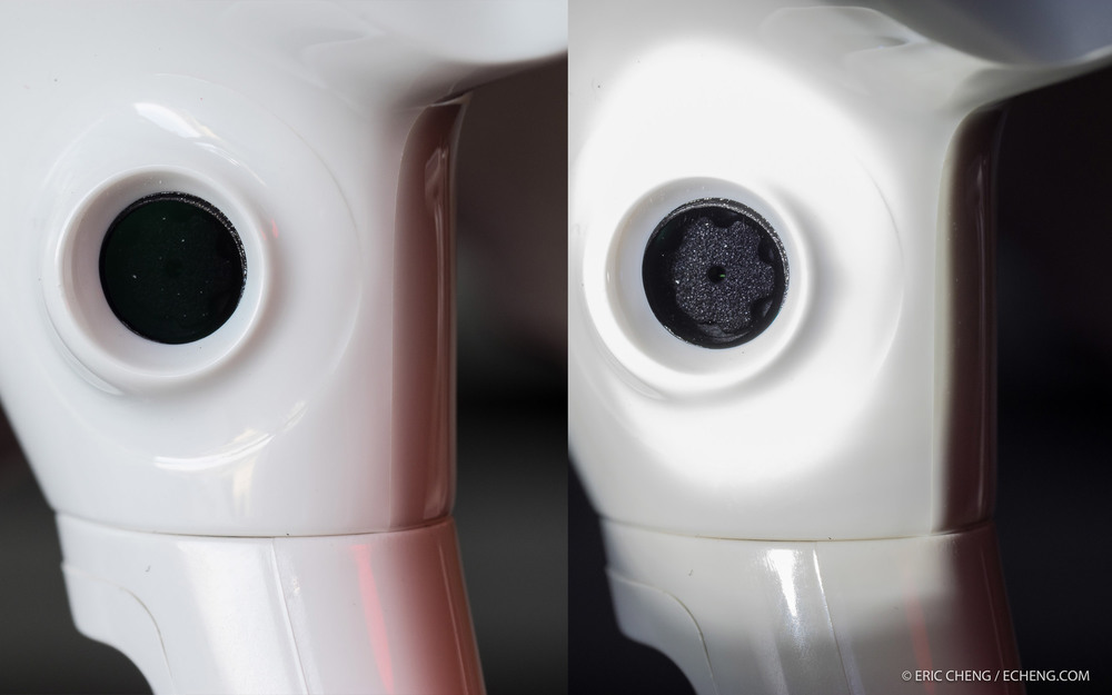 Front-facing vision sensor on DJI Phantom 4 as it looks normally, and with bright light applied to show the camera behind the cover.