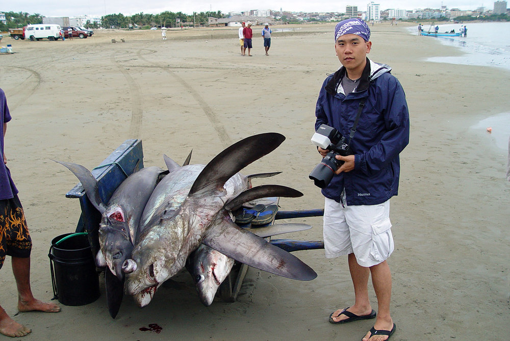 In Manta, Ecuador, photographing a huge shark-fishing beach (photo: Matt Potenski)