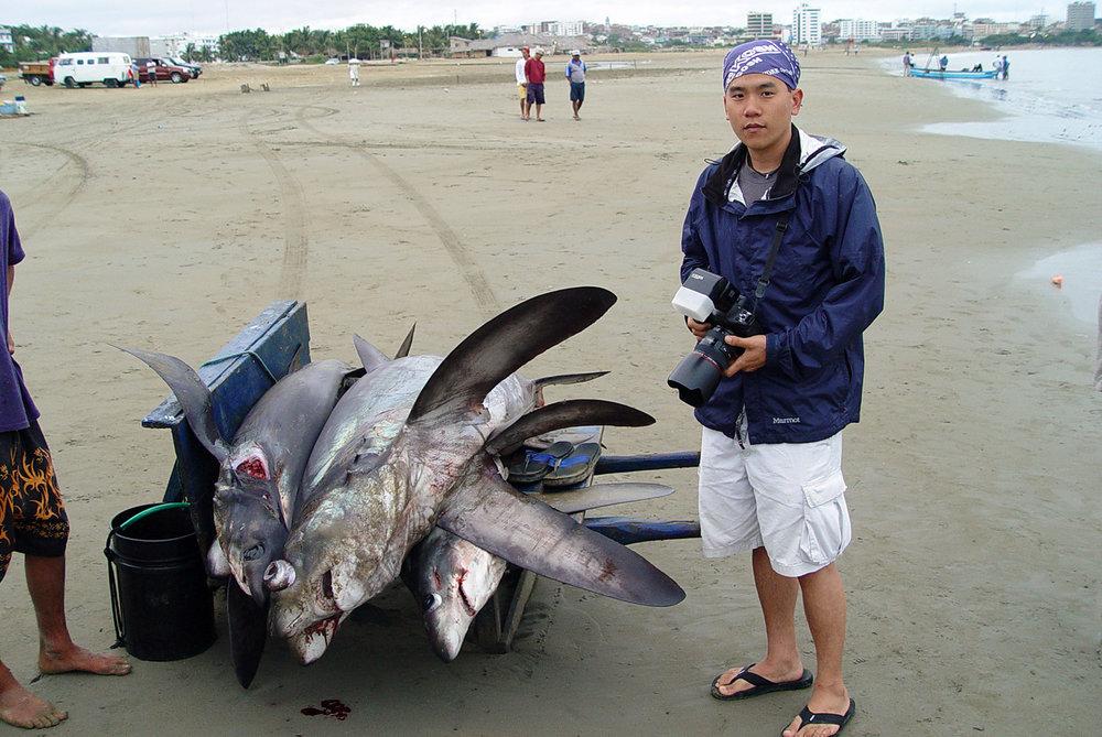 In Manta, Ecuador, photographing a huge shark-fishing beach (photo: Matt Potenski)