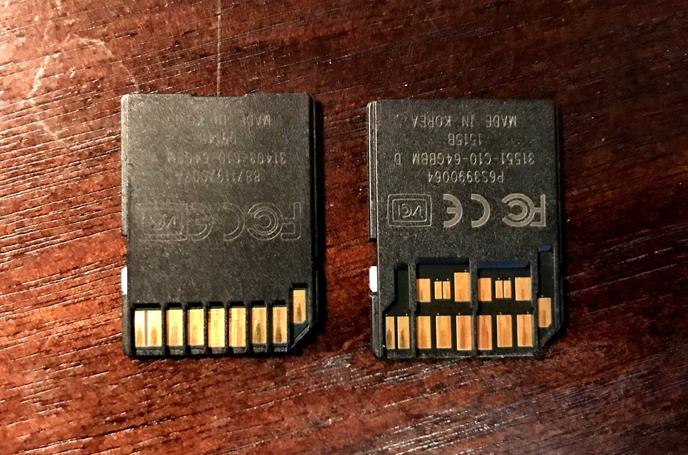 SDXC UHS-I card on left, UHS-II card on right