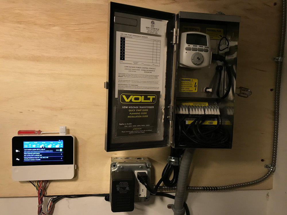 RainMachine Touch HD-16 (left) mounted next to a Volt 300W transformer for LED lighting
