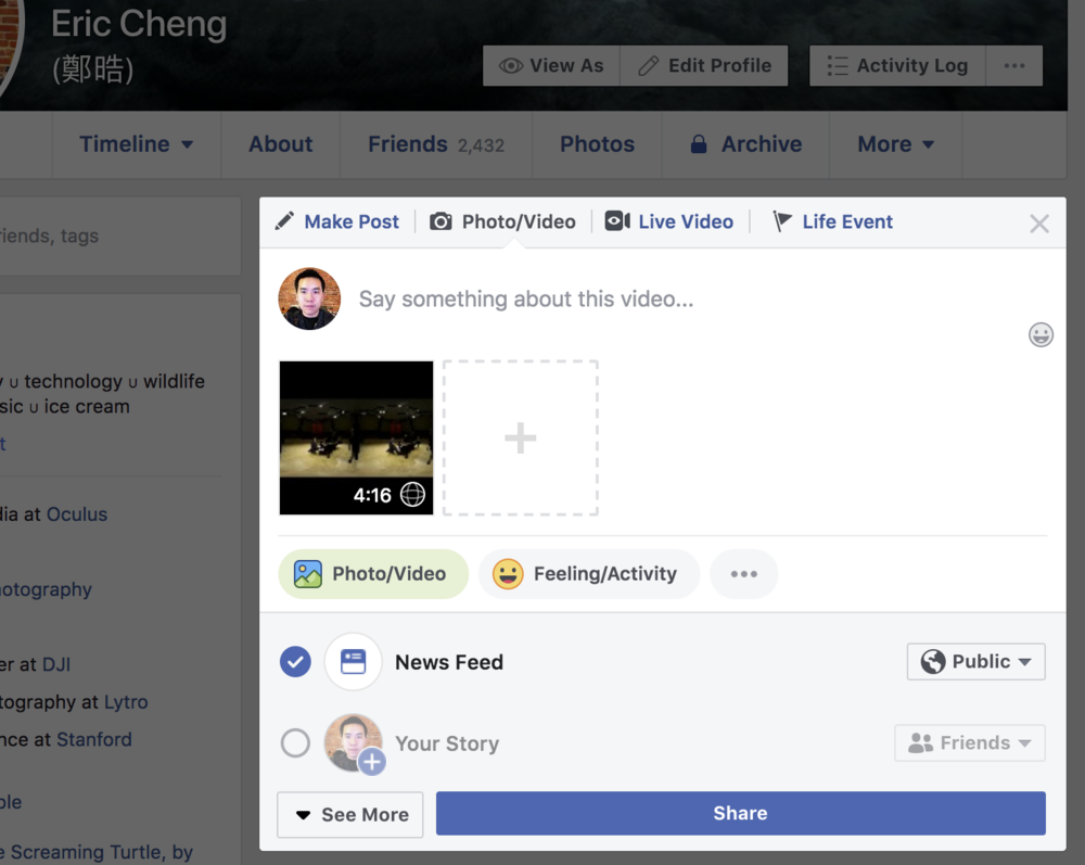 The 360 media icon overlay indicates that Facebook has detected 360 or 180 metadata.