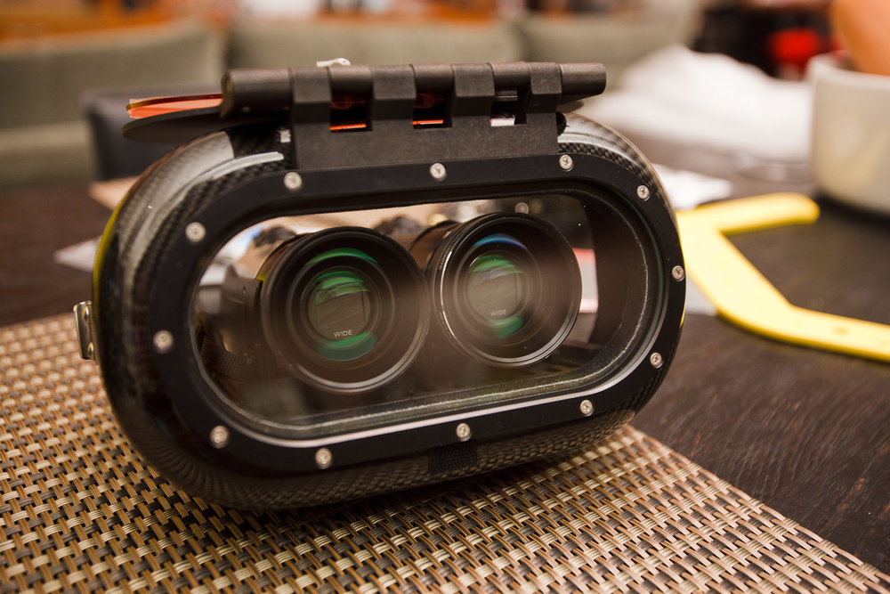 Custom BS Kinetics carbon fiber underwater 3D housing with Sony camcorders