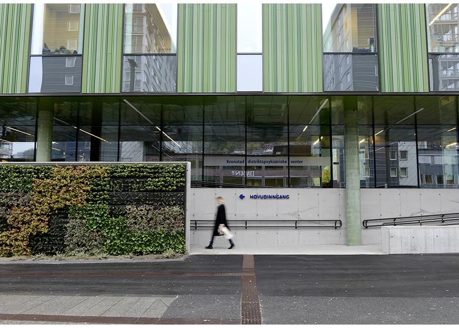 Vertikal hage ved inngangsparti mot bybanestoppet på Danmarks plass