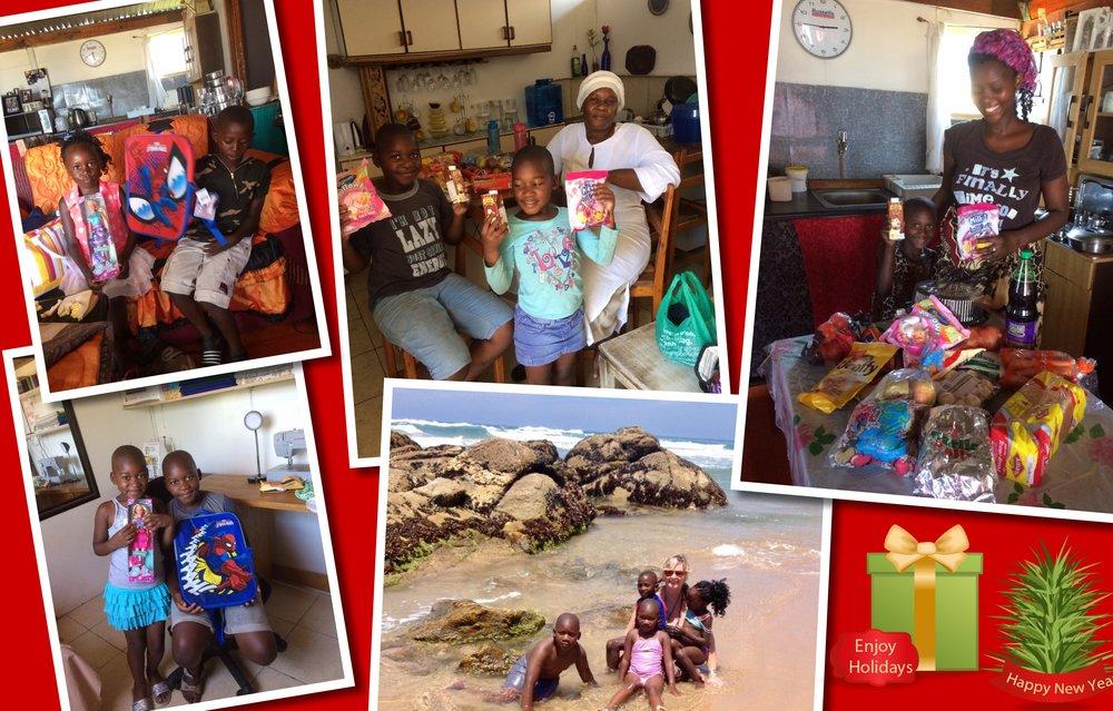 Kerstkadootjes en boodschappen voor de twee gezinnetjes
