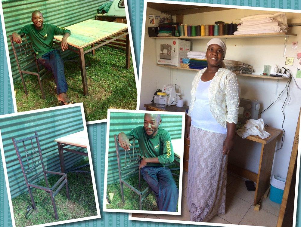 Joseph showt trots zijn eerste creatie, een tafel en stoel. Regina niet minder trots in haar eigen naaiatelier in haar nieuwe zelf genaakte outfit