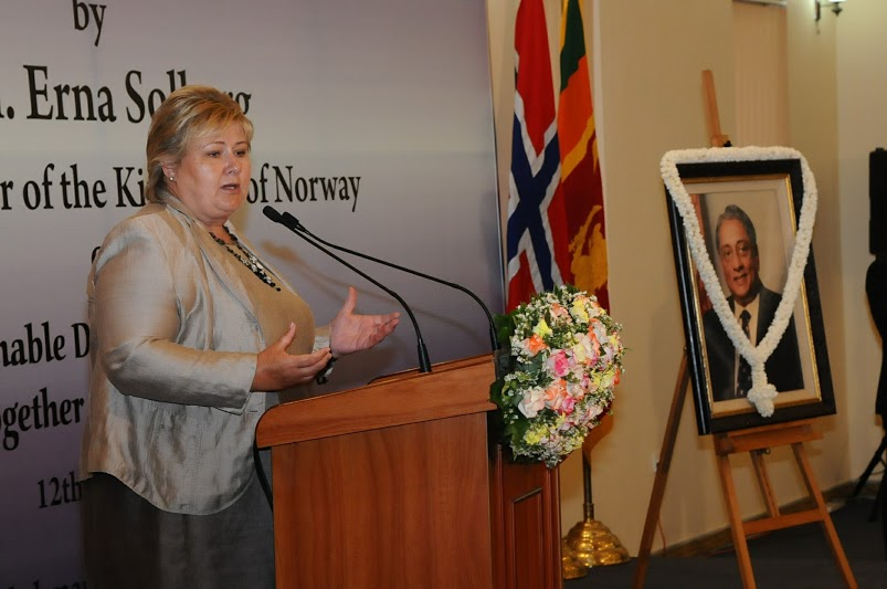 Hon. Erna Solberg, Prime Minister of the Kingdom of Norway, delivers the Lakshman Kadirgamar Memorial Lecture 2016.