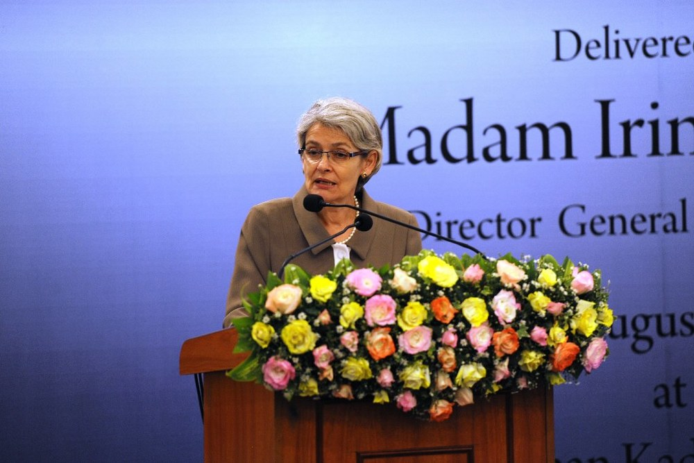 Director- General of UNESCO, Madam Irina Bokova speaks at the LKI. Image credit- Ministry of Defence, Sri Lanka