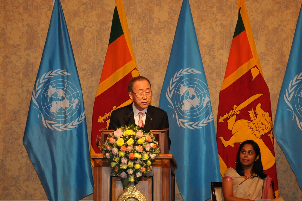 "UN Secretary-General, H.E. Ban Ki-moon, delivers speech on ""Sustaining Peace and Achieving Sustainable Development Goals"". Image credit - Ministry of Foreign Affairs"