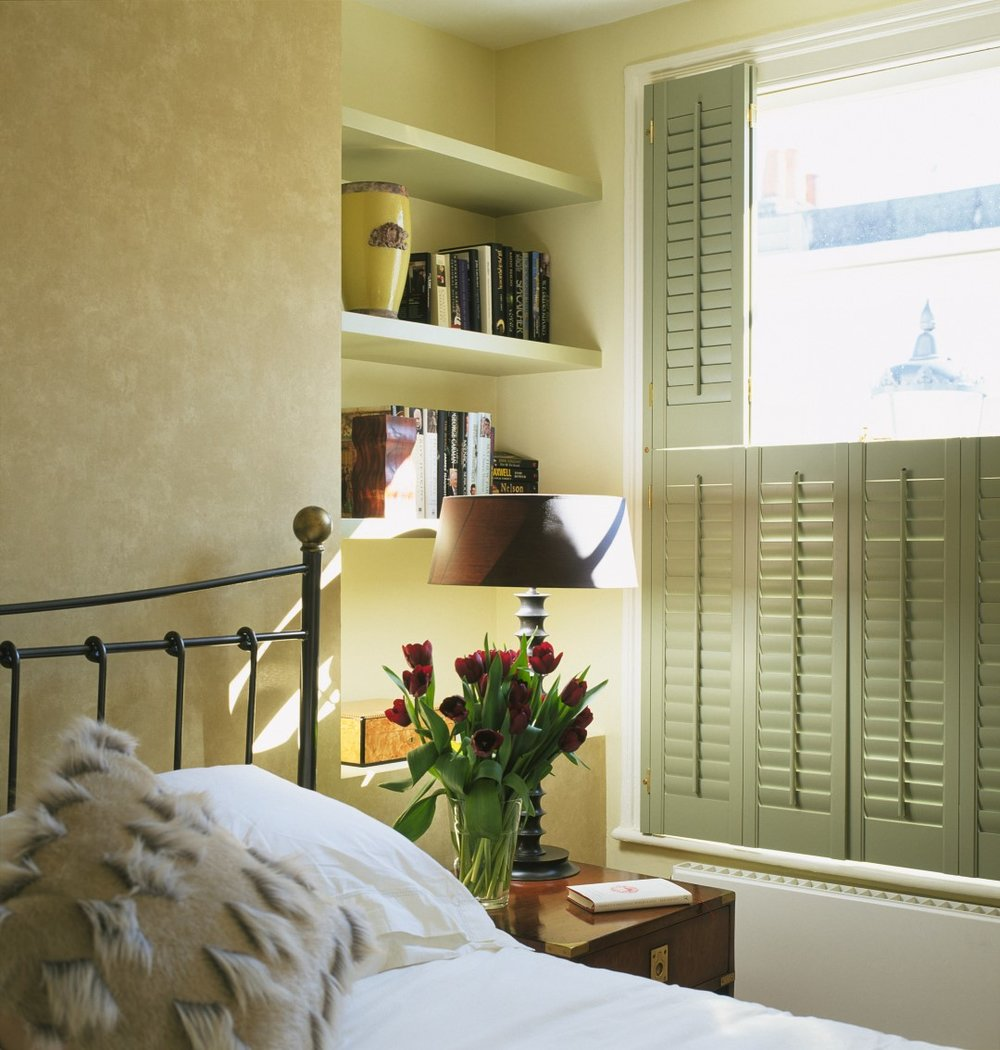 Green Tier on Tier Window Shutters